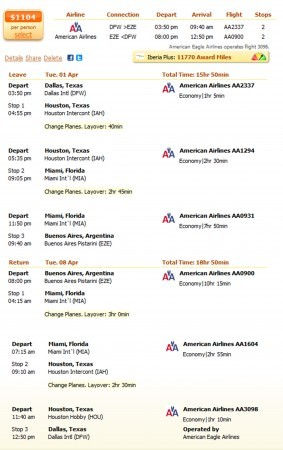 Dallas to Buenos Aires flight details