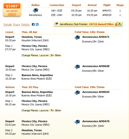 Houston to Buenos Aires flight details