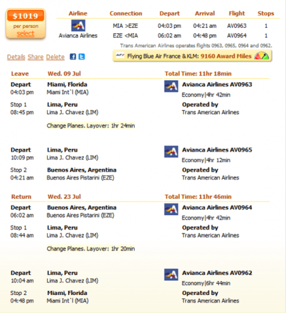 Miami to Buenos Aires flight details