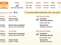 Cheap flight from Miami to Buenos Aires from $1,087 r/t