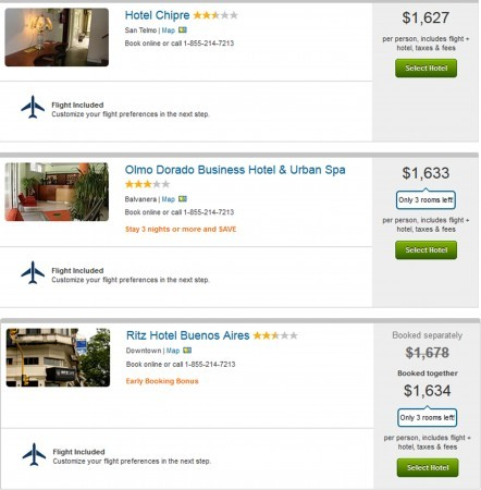 Top 3 cheapest Buneos Aires packages